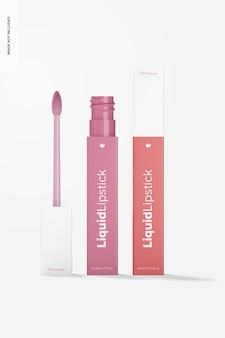 Mockup voor vloeibare lippenstiftbuizen, geopend en gesloten