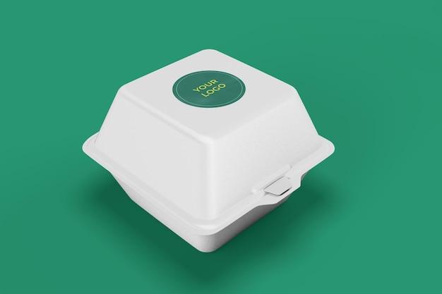 Mockup voor voedselcontainer, witte doos met stickeromslag voor branding en identiteit