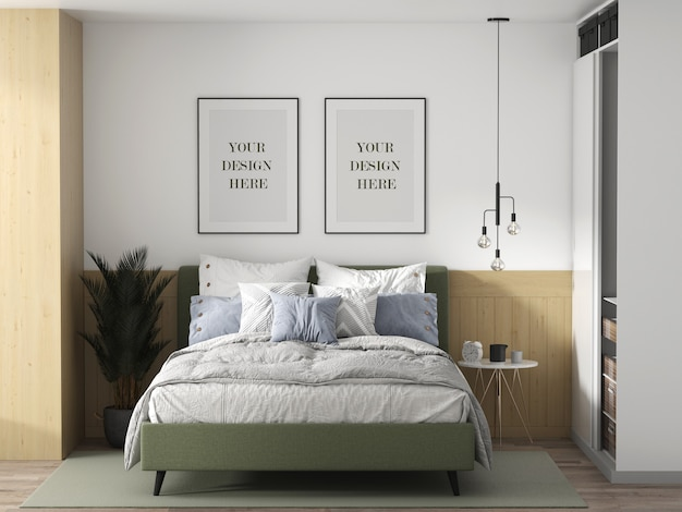 Mockup voor wandkaders in een slaapkamer in loftstijl