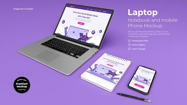 Mockup voor werkpleklaptop en notebook
