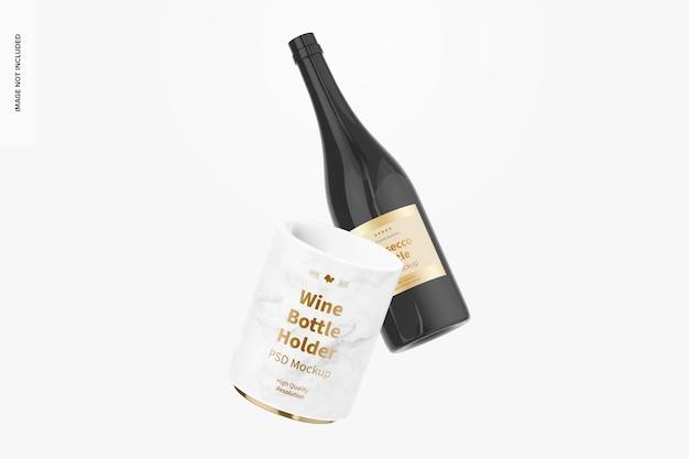 Mockup voor wijnfleshouder, drijvend