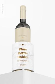 Mockup voor wijnfleshouder, lage hoekweergave