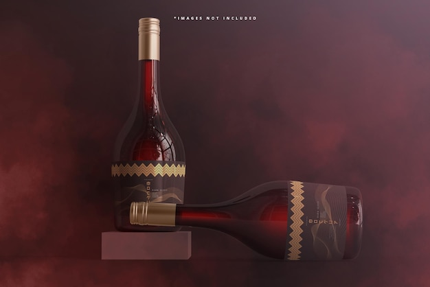 Mockup voor wijnflessen met schroefdop