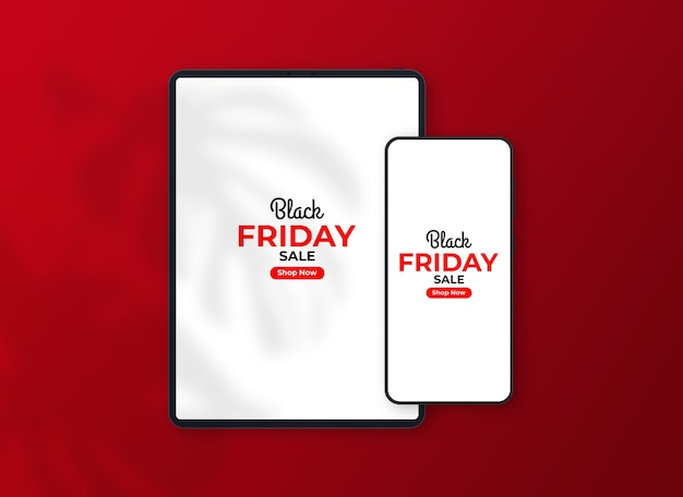 Mockup voor zwarte vrijdagsmartphone en tablet