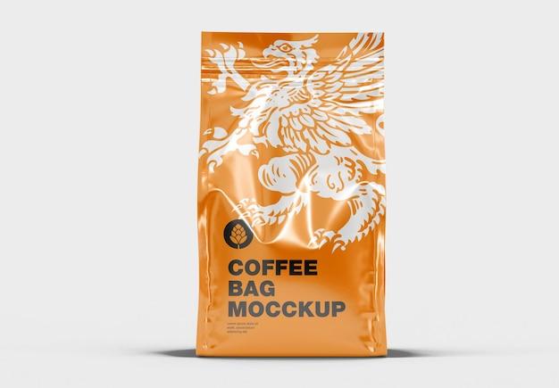 Mockup vooraanzicht van metalen koffietas