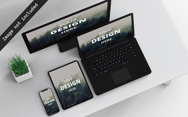 Mockup-weergave met meerdere apparaten linksboven