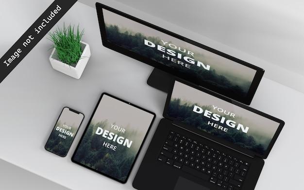Mockup-weergave met meerdere apparaten rechtsboven