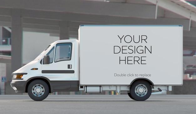 Mockup-weergave van een reeks voertuigen - 3d-rendering