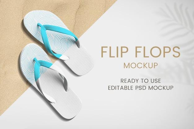 Mockup de zapatos de verano con chanclas psd ropa de mujer