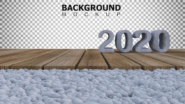 Mockupachtergrond voor 3d teruggevend teken van 2020 op houten paneel dat op witte rotstuin wordt geplaatst