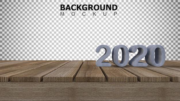 Mockupachtergrond voor 3d teruggevend teken van 2020 op houten paneel