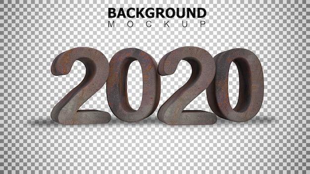 Mockupachtergrond voor 3d teruggevende geroeste achtergrond van de staal plastic tekst 2020
