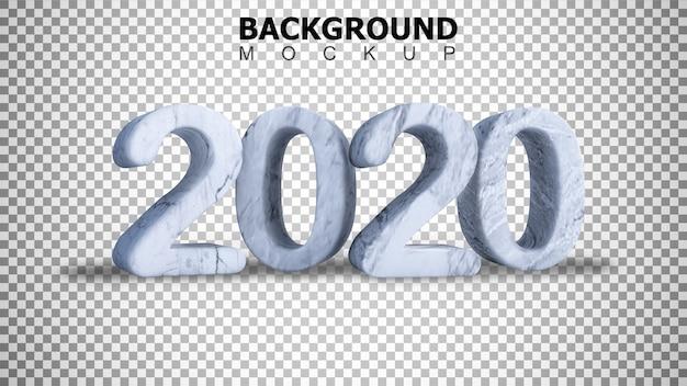 Mockupachtergrond voor 3d teruggevende marmeren tekst 2020 achtergrond