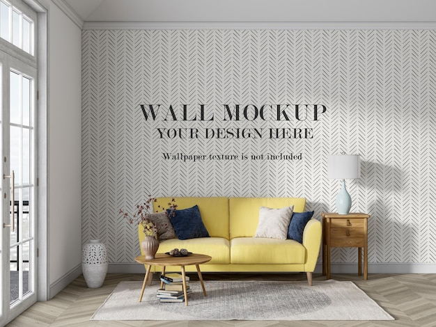 Mockupmuur achter gele bank met minimalistisch meubilair
