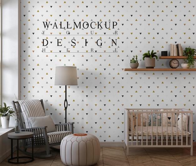 Mockupmuur in moderne babyslaapkamer met schommelstoel en poef