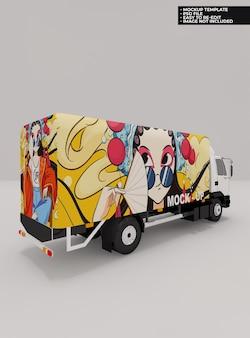 Mockupontwerp voor vrachtwagenboxen in 3d-rendering