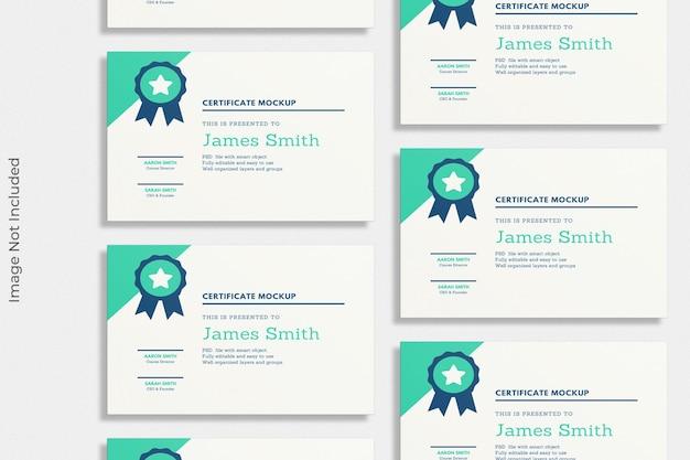 Mockupontwerp voor zwevend certificaat