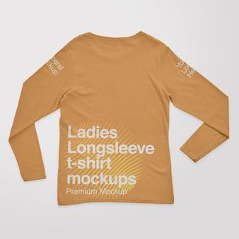 Mockups de camiseta de manga larga para mujer