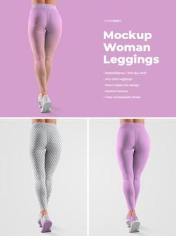 Mockups dames leggins. ontwerp is eenvoudig in het aanpassen van het ontwerp van afbeeldingen (voor elk been, manchetten en alle leggings), kleur alle leggings en sneakers (zool, veters, sneakers, gaten) en gemêleerde textuur.
