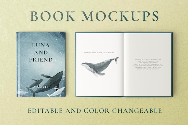 Mockups de libros psd, diseño modificable de color editable