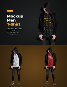 Mockups man t-shirt in een zwarte mantel