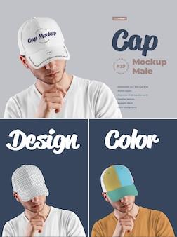 Mockups mens cap design es fácil de personalizar imágenes de diseño de visera, todos los sectores y solo visera frontal, color de todos los elementos, textura jaspeada