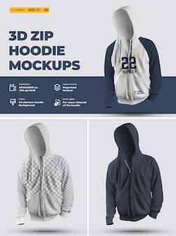 Mockups met ritssluiting (onderwerp). ontwerp is eenvoudig in het aanpassen van afbeeldingen met ontwerp hoodie (torso, capuchon, mouw, zak), kleur van alle elementen hoodie, heide textuur.