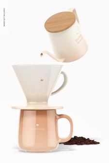 Mockups van koffiescènes, vooraanzicht