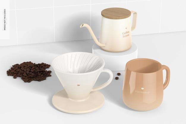 Mockups voor koffiescènes, perspectiefweergave 02