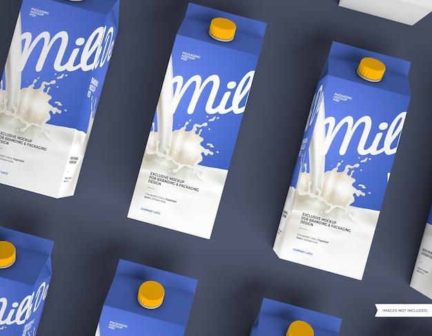 Mockups voor melkverpakkingen