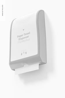 Mockups voor papieren handdoekdispensers, lage hoekweergave