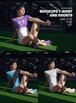 Mockups voor sport-t-shirts en shorts