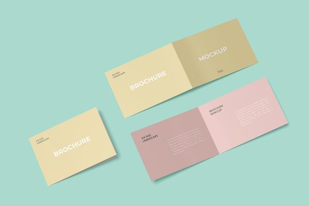 Mockups voor tweevoudige brochures in landschap
