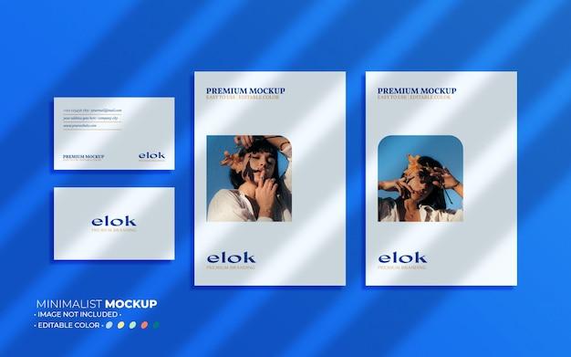 Mockupsamenstelling voor visitekaartjes en flyer met overlays