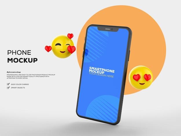Mockupscherm voor mobiele telefoons met emoji