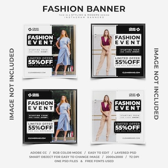 Mode evenement kortingen instagram banners