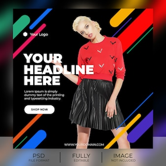 Mode instagram post sjabloon banner