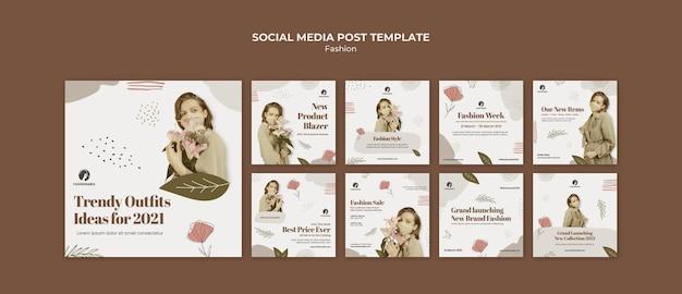 Mode instagram postsjabloon met foto