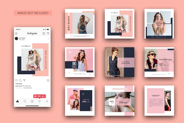 Mode instagram postsjabloon set en screenshot mockup