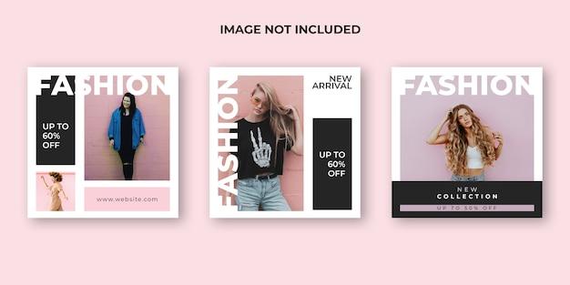 Mode instagram postsjabloon set