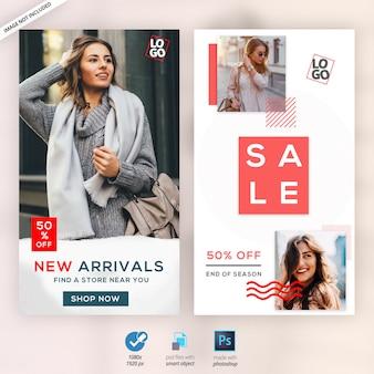Mode instagramverhalen advertenties banners