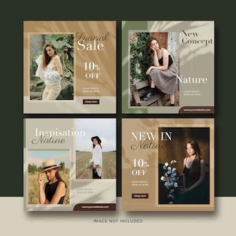 Mode natuur banner sociale media post sjabloon collectie