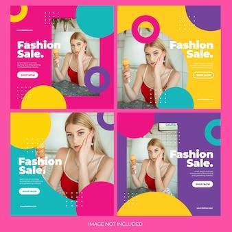Mode online winkelen instagram postbundelsjabloon