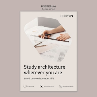Mode ontwerp school sjabloon poster
