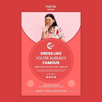 Mode poster sjabloon met foto van de vrouw