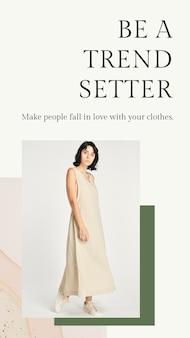 Mode-sjabloon voor dames met aardetinten psd voor verhaal op sociale media