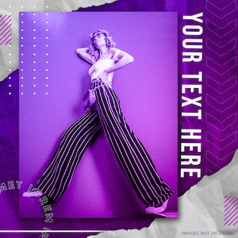 Mode sociale media sjabloon voor spandoek met street style