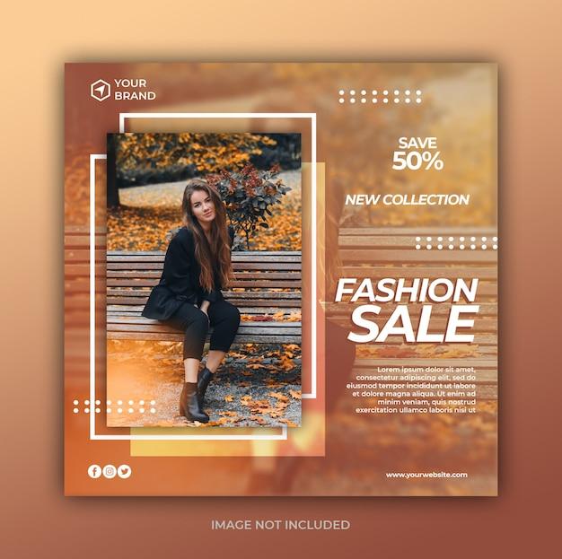 Mode verkoop social media post en vierkante webbanner sjabloon