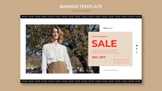 Mode verkoop vrouw lage weergave sjabloon voor spandoek