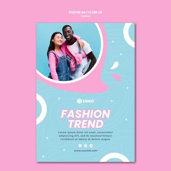 Mode winkel poster sjabloon met foto